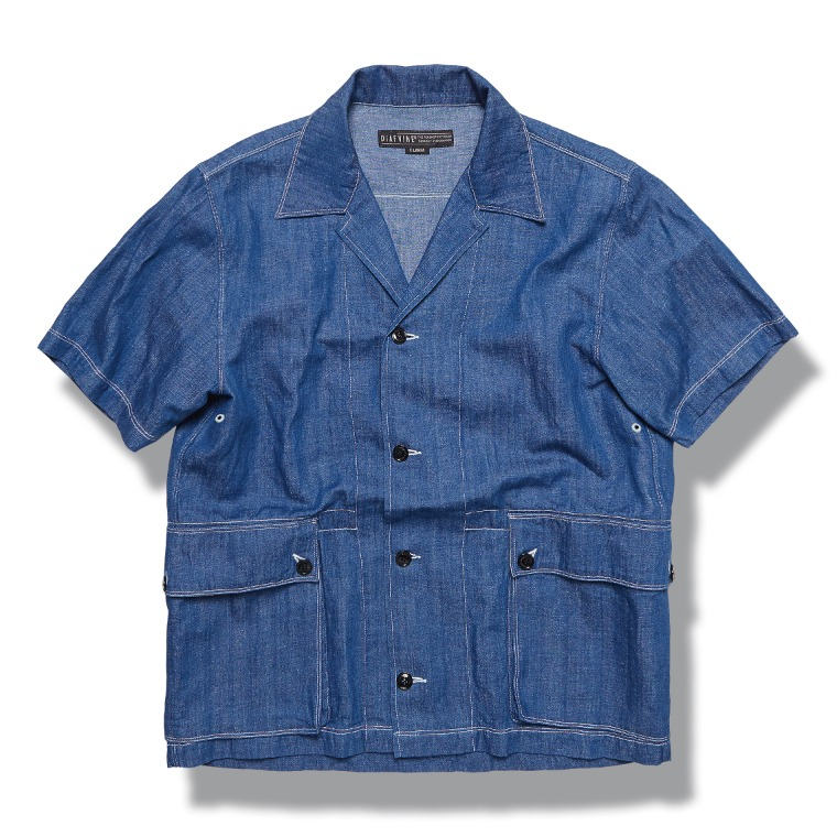DV. LOT609 Linen Denim 1/2 Shirts -INDIGO-